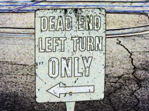 Dead end, left turn only