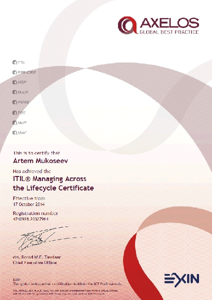 ITIL Managing Across the Lifecycle (MALC), EXIN, The Netherlands