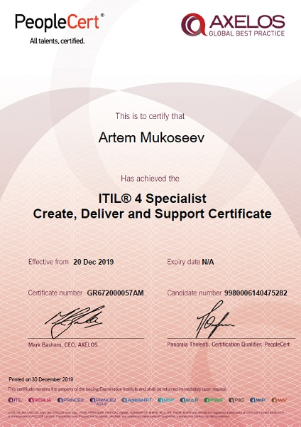 ITIL 4 Specialist Create, Deliver and Support Certificate