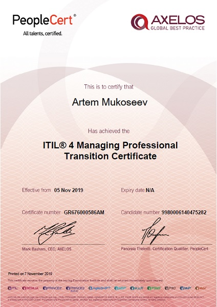 ITIL 4 Managing Professional Transition Certificate