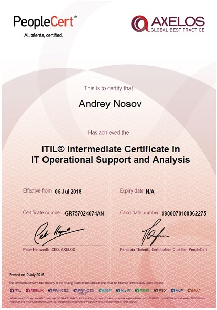 ITIL Operational Support and Analysis (OSA)