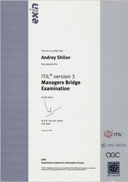 ITIL Manager's Certificate Bridge in IT Service Management