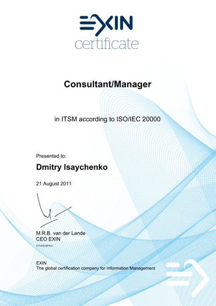 Consultant/Manager in ITSM according to ISO/IEC 20000