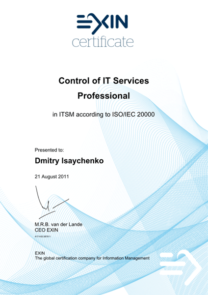 Professional Control of IT Services according to ISO/IEC 20000