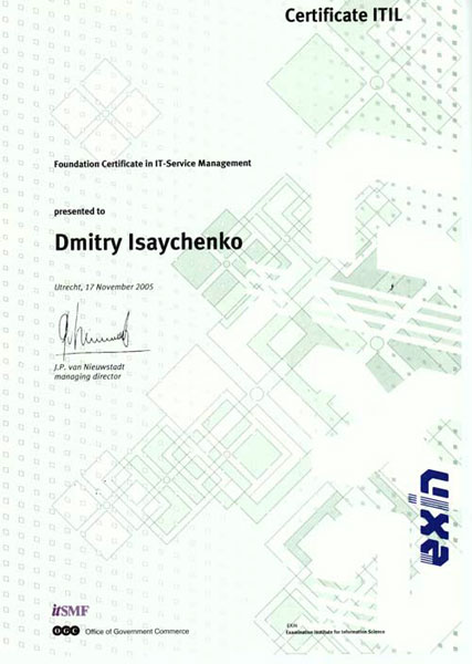 Foundation Certificate in IT Service Management