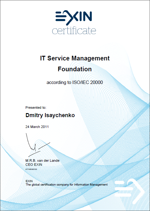 IT Service Management Foundation according to ISO/IEC 20000