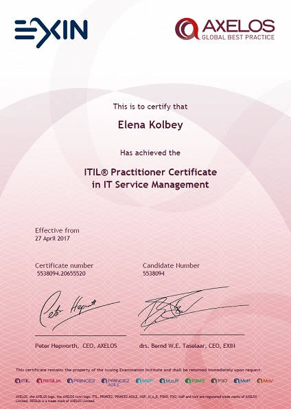 certificate ITIL® Practitioner