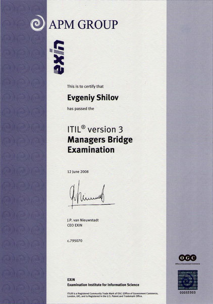 ITIL Manager's Bridge Certificate in IT Service Management