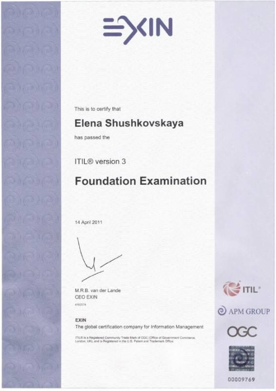 Foundation Certificate in IT Service Management (ITIL v3)