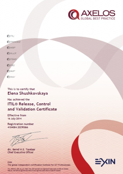 ITIL v3 Intermediate Qualification: Release, Control and Validation