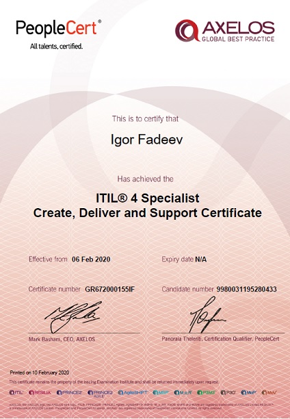 ITIL 4 Specialist Create, Deliver and Support Certificate (CDS)