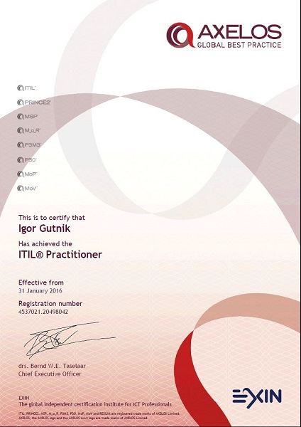 certificate ITIL Practitioner