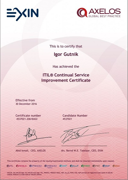 ITIL Continual Service Improvment