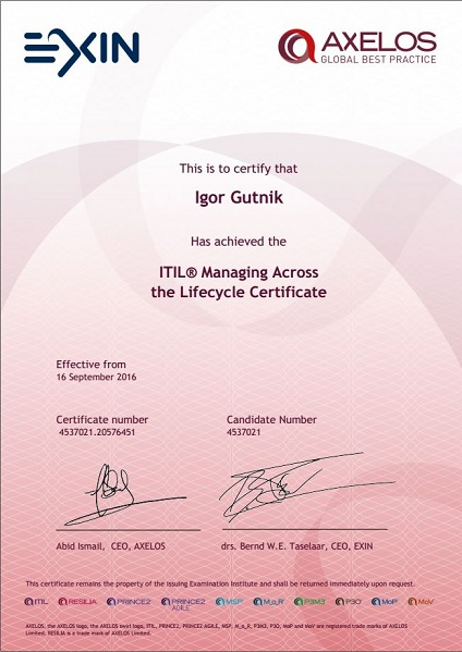 ITIL Managing Across the Lifecycle (MALC)