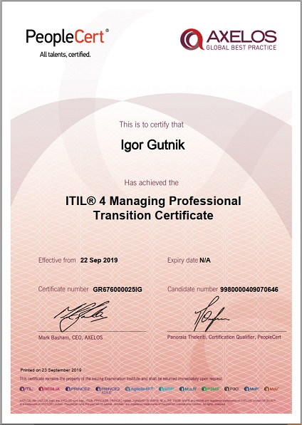 ITIL 4 Managing Professional Transition