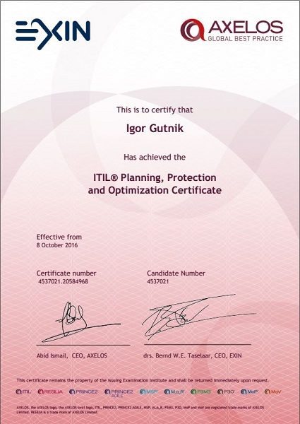 certificate ITIL Planning, Protection and Optimization (PPO)