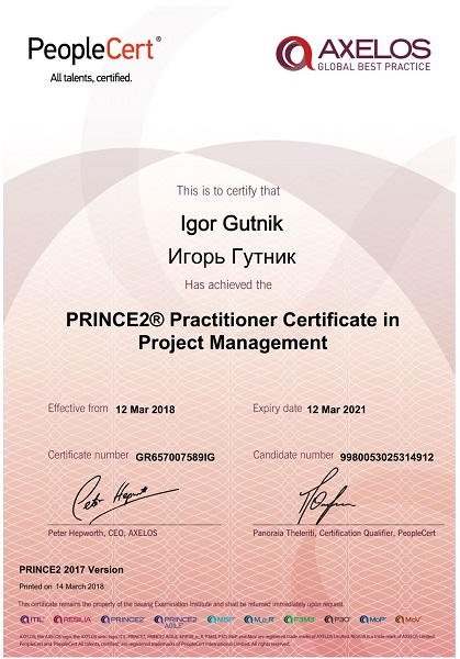 PRINCE2 Practitioner