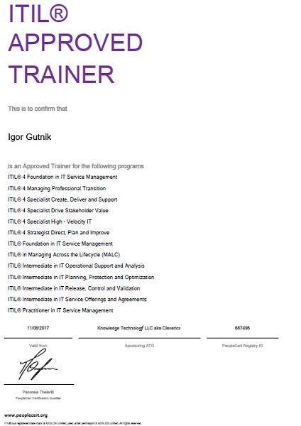 ITIL 4 Trainer