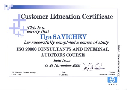 ISO 20000 Consultants and internal auditors course