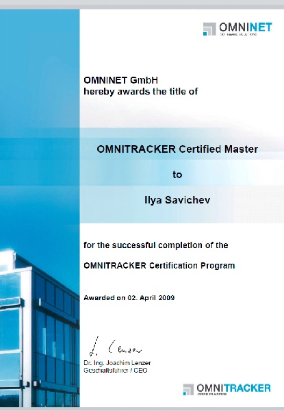 OMNITRACKER Certified Master