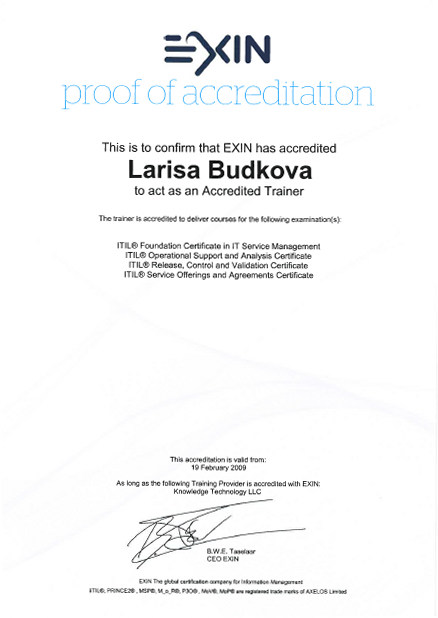 EXIN Accredited trainer