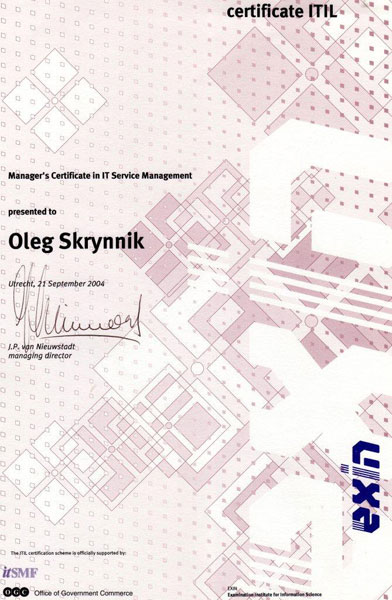 IT Service Manager's Certificate in IT Service Management