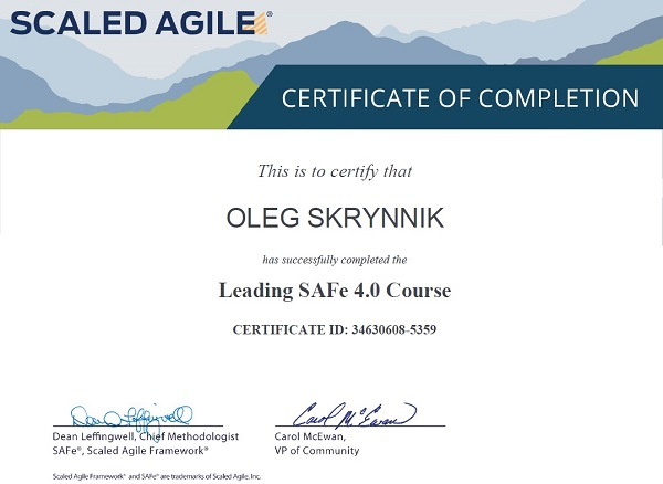 Leading SAFe 4.0 Course