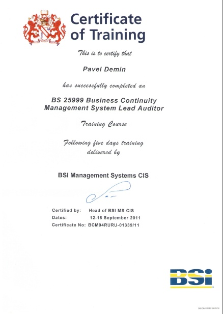 BS25999 Business Continuity Management System Lead Auditor Certificate