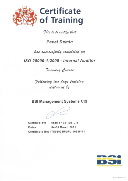 ISO 20000-1:2005 Internal Auditor BSI Certificate of Training