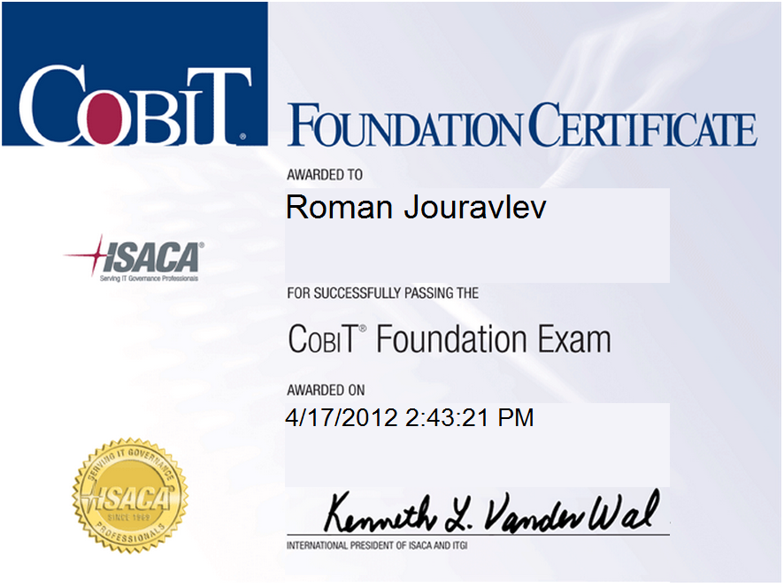 Пример сертификата COBIT Foundation