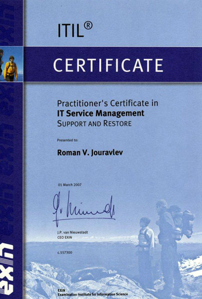 Practitioner's Certificate in IT Service Management / Support and Restore