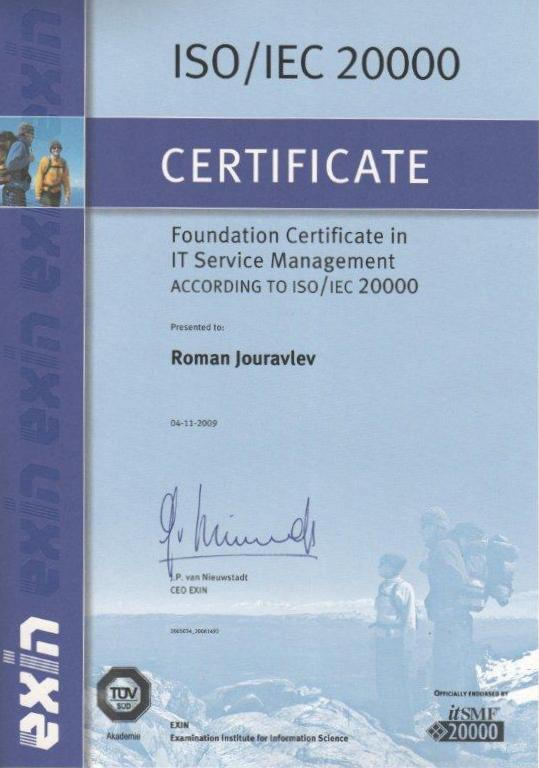 Foundation Certificate in IT Service Management according to ISO/IEC 20000