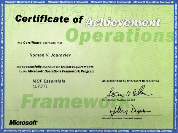 Microsoft Operations Framework trainer