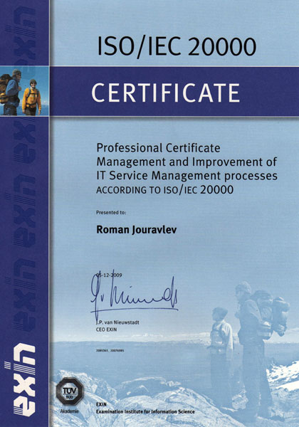 Management and Improvement Professional in ITSM according to ISO/IEC 20000