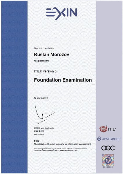 certificate rm ITIL