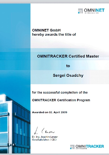 OMNITRACKER: Certified Master